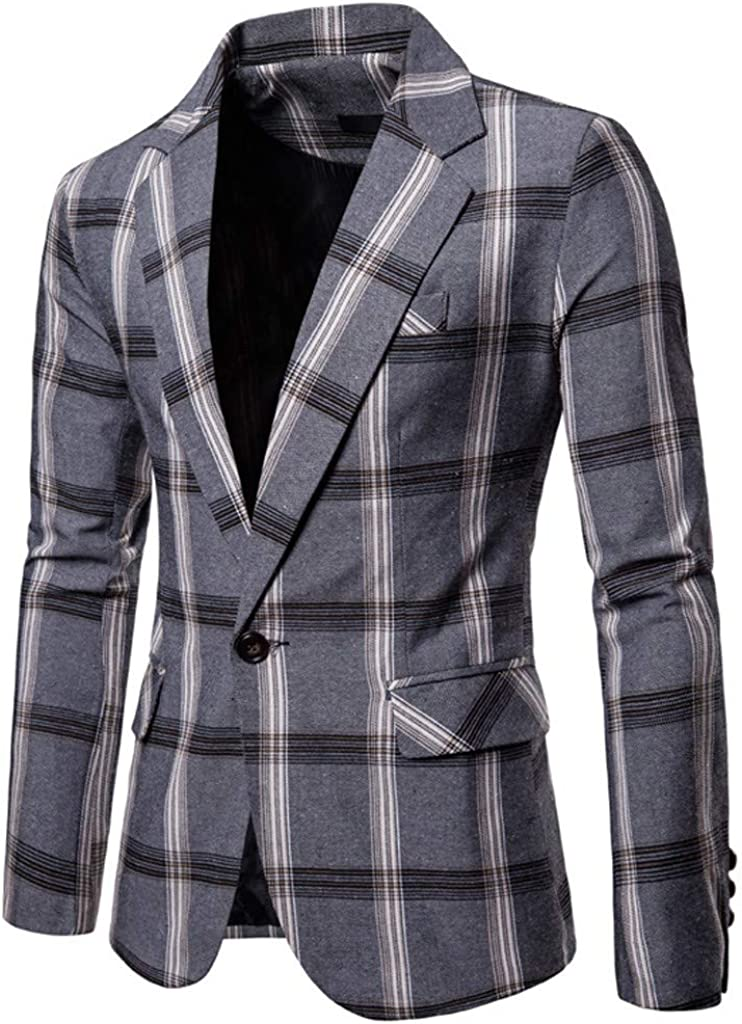 Men's One Button Plaid Suit Blazer Jacket for Formal Business Wedding Party Tuxedo