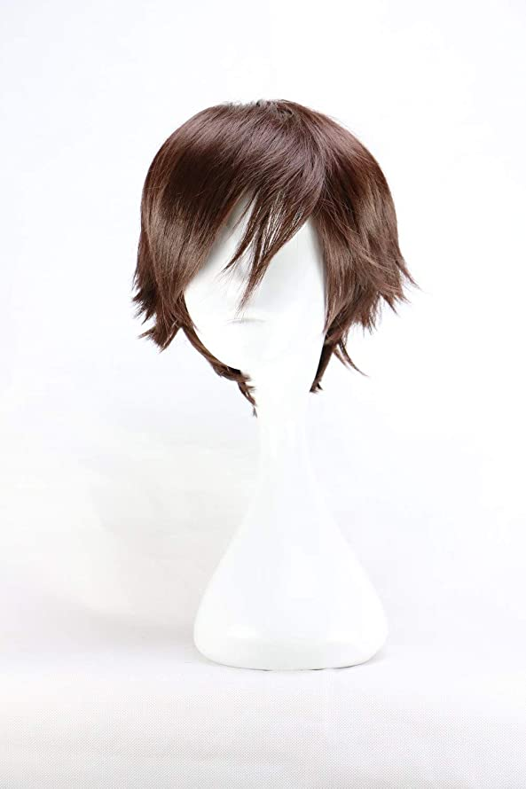 SYH01 Men Short Costume Cosplay Boys Dark Brown 32 Cm Heat Resistant Synthetic Wigs Hairpiece Wigs Wig Cap for Black White Men