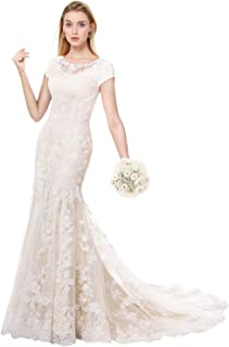 686c2b10d9b1 MILANO BRIDE Modest Wedding Dress for Bride Short Sleeves Sheath Floral Lace