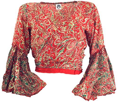 Guru-Shop, Korte Top, Boho Blouse Top, Wikkeltop, Wikkelblouse, Rood, Synthetisch, Size:12, Top T-shirts