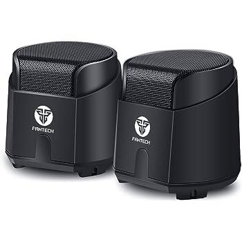 FANTECH pc スピーカー 小型 usb電源 6Wパワフル出力 pc/テレビ/MP3/タブレット/スマホに対応 重低音 3.5mmミニプラグ (ブラック)
