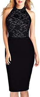 Women's Retro Halter Neck Floral Lace Sleeveless Cocktail Party Bodycon Pencil Midi Dress 176