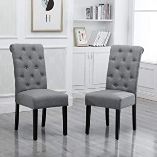 HomeSailing Modern 2 Grey Dining Room Chairs Set Only Kitchen Chairs Button Tufted with Fabric Upholstered Padded for Accent Restaurant with Solid Black Legs