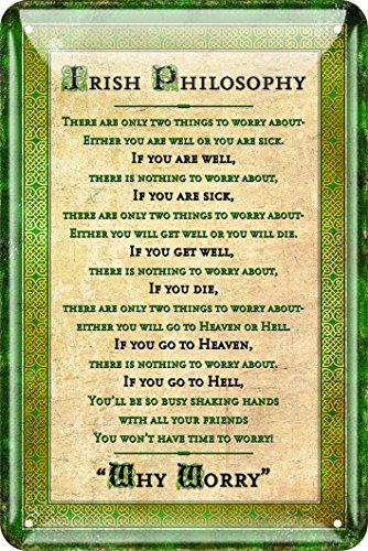 Irisches Blechschild mit irischem Philosophie-Spruch im Design der keltischen Grenze