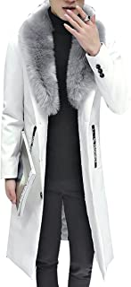 Slim Faux Fur Collar Long Pu Leather Trench Coat Jacket Outwear