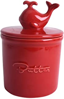 Vencer Butter Crock,French Butter Dish -Fresh Soft Butter,Spreadable without Refrigeration,Red,VHB-001R