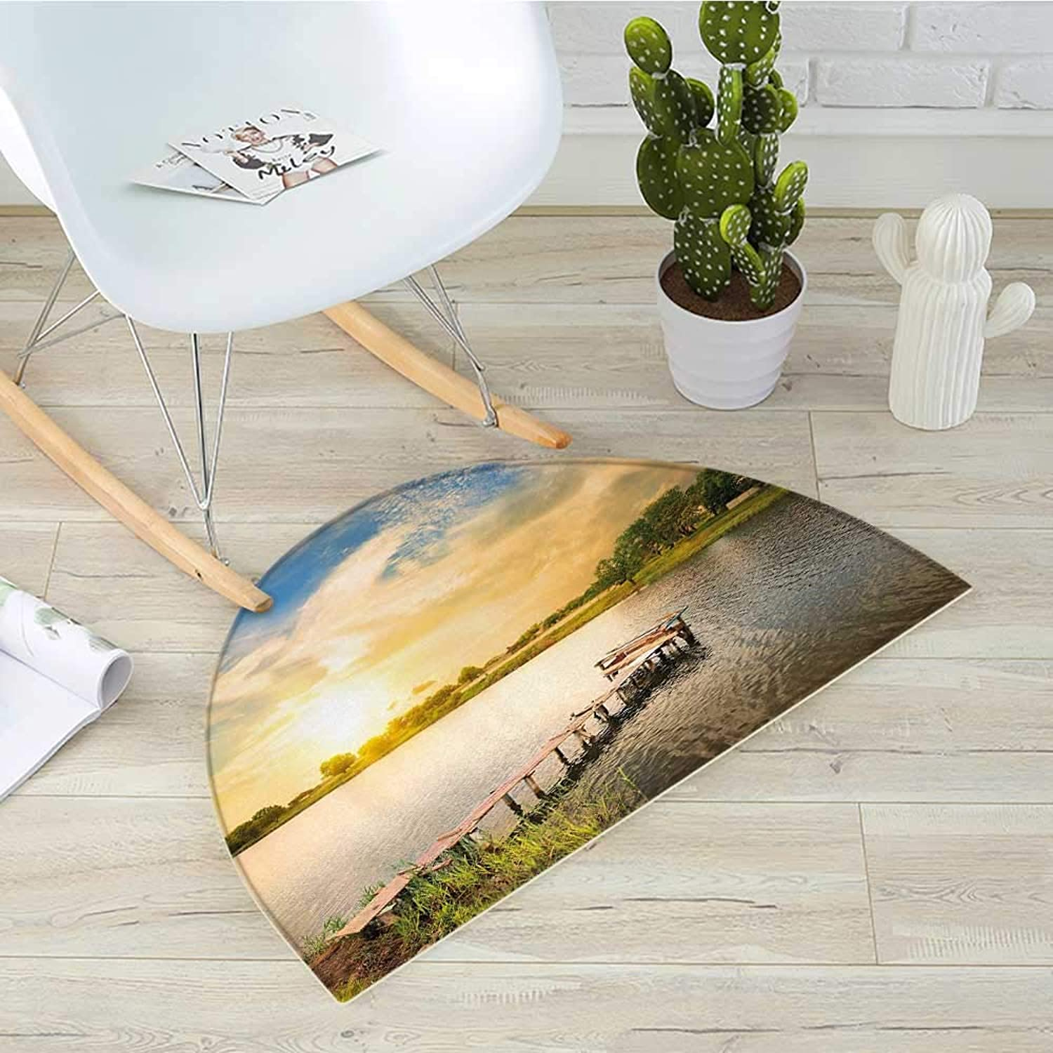 Nature Half Round Door mats Wooden Deck on The Lake Surrounded by Foliage Greenery Evening Sky Serene Landscape Bathroom Mat H 35.4  xD 53.1  Multicolor