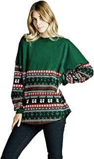 Womens Splicing Christmas Long Sleeve Loose Tops Blouse T-Shirt Hoodies