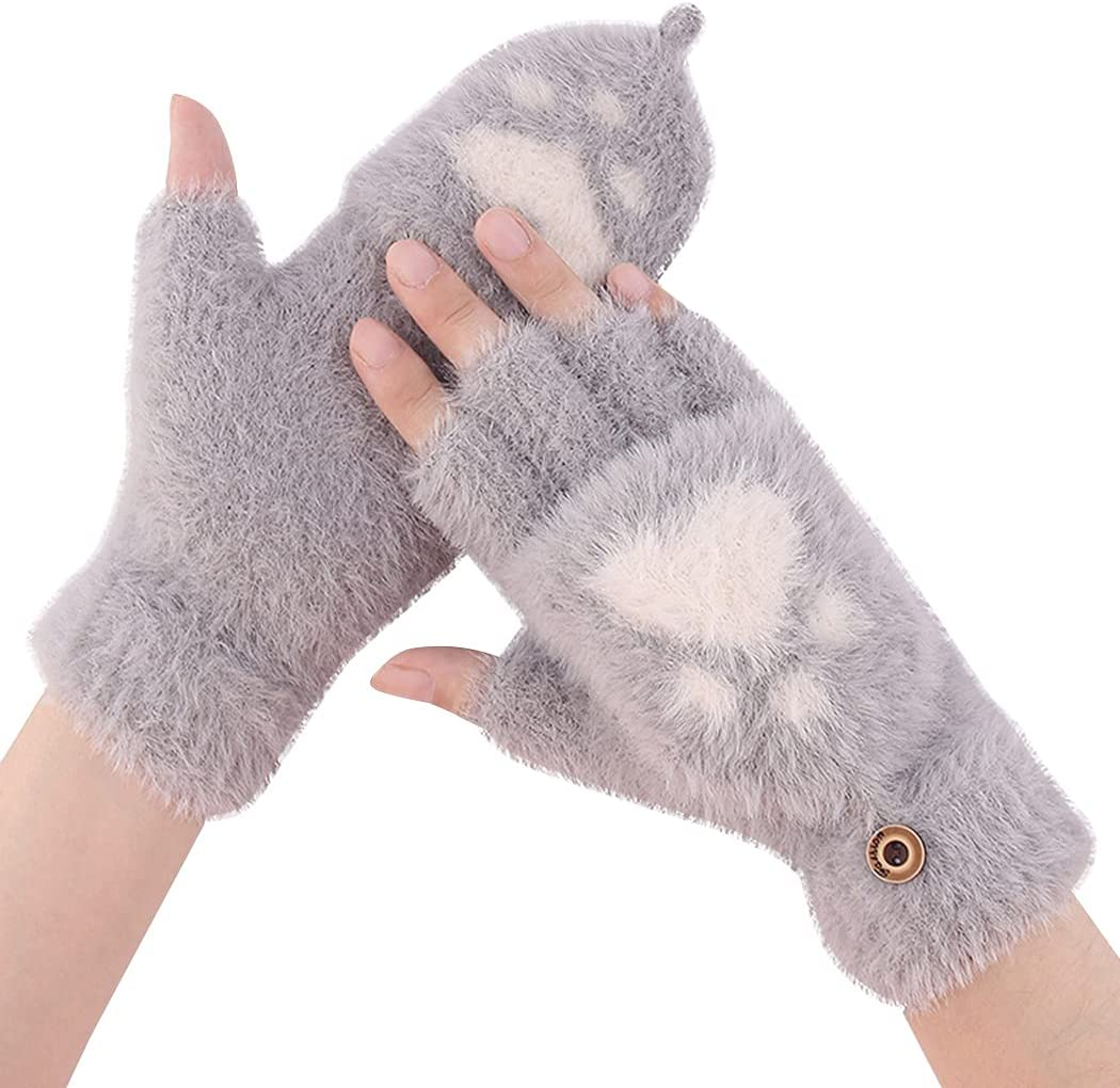 Licogel Women Fingerless Gloves Thick Heart Knitted Half Finger Mittens Flip Top Gloves Woman Ladies Adults Girls Faux