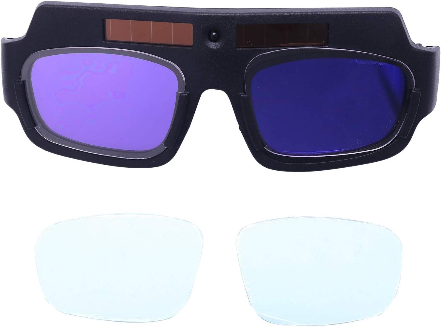 TOOGOO de Soldadura de Oscurecimiento AutomáTico con AlimentacióN Solar Casco Gafas Gafas de Soldador Lente de Arco Pc Grandes Gafas para ProteccióN de Soldadura