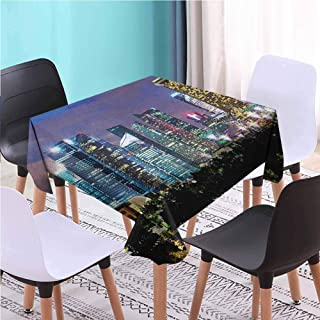 Zara Henry Design Travel Dust-Proof Square Table Cover, Singapore Cityscape at The Night Modern Architecture Urban Life East Landmark Multicolor Reusable Plastic Tablecloths, 45x45 Inch