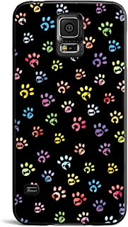 Inspired Cases - 3D Textured Galaxy S5 Case - Rubber Bumper Cover - Protective Phone Case for Samsung Galaxy S5 - Dog & Cat Lover - Small Watercolor Paw Prints - Black