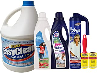 Home Essentials - Complete Laundry Kit - Robyn 1 Litre Liquid Detergent + Daisy 1 Litre Fabric Softener White + Easyclean ...