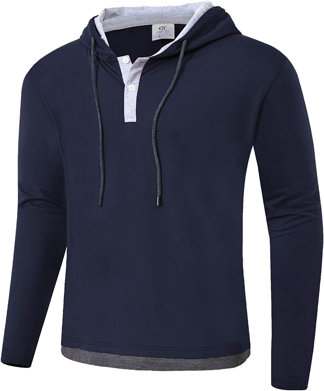 QPNGRP Mens Long Sleeve Hooded T-Shirt Slim Fit Pullover Hoodie Shirt