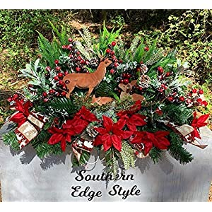 Christmas Cemetery Saddle, Christmas Grave Blanket, Deer Family, Cemetery Flowers