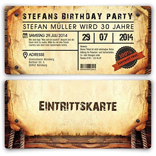 Personalisierte Einladungskarten zum Geburtstag (50 Stück) als Eintrittskarte im Vintage-Look Ticket Karte Einladung