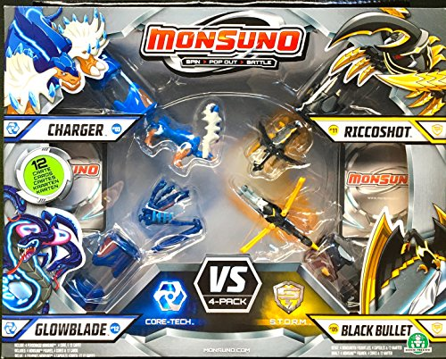 Monsuno Serie 1 - 4er Combat Pack mit Charger #03, Glowblade #12, Riccoshot #11, Black Bullet #05, 4 Cores und 12 Karten