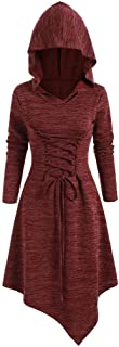 FEISI22㉿ Womens Renaissance Costumes Hooded Robe Lace Up Vintage Pullover High Low Long Hoodie Dress Cloak Medieval