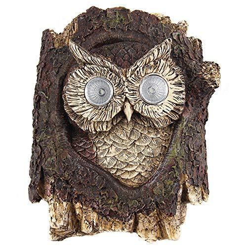 Liffy Outdoor Garden Owl Statue Solar Resin Bird Figurine Yard LED Light Ornament for Patio, Lawn or Tree