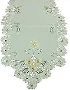 Xia Home Fashions Emerald Daisy Embroidered Collection Cutwork Spring Table Runner, 15 by 72-Inch