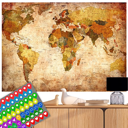 decomonkey | Weltkarte Vintage Poster Wanbild Retro XXL WorldmapINKL. AUFKLEBERSET (74 STK.) Zweiseitig 140x100 cm beidseitig Bedruckt & laminiert- 2 Antike Weltkarten Welt Atlas Kontinente