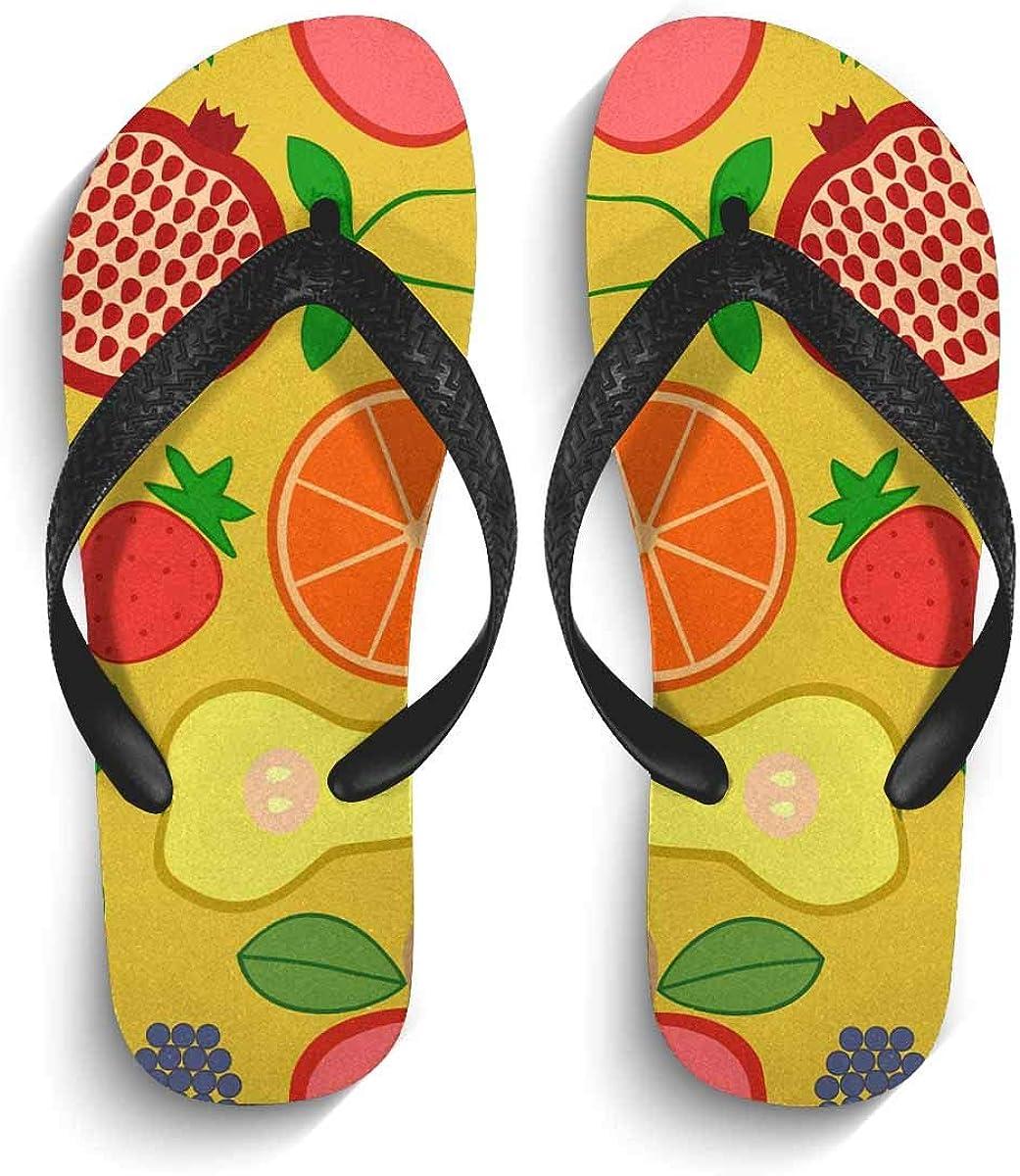 InterestPrint Men's Non-Slip Flip Flops Sandal Fruits and Berries on Yellow Background Summer Beach Thong Slippers XL