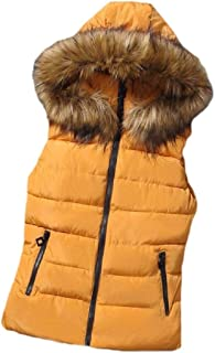 Womens Sleeveless Winter Faux Fur Hooded Outwear Down Quilted Vest Waistcoats Jacket Coats