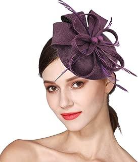 purple wedding hats and fascinators