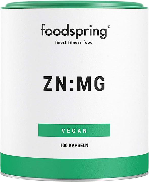 Integratore di zinco e magnesio foodspring  100 capsule, zinco e magnesio per aumentare le prestazioni e035