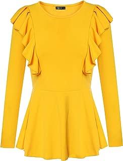 Women Peplum Tops Shirt Slim Fit Elegant Ruffle Blouse