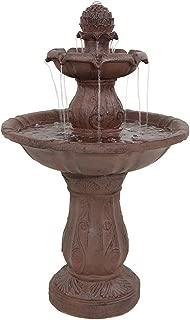 Sunnydaze Clover Blossom Cascading Two-Tier Outdoor Garden Water Fountain, 29 Inch Tall