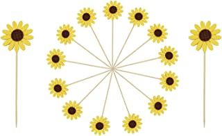 Floranea 20 Pcs Sunflower Cupcake Toppers 2 Pcs Large 18 Pcs Small Yellow Cute Flower Toothpicks for Cake Fruit Food Desse...