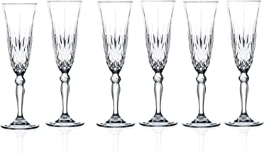 Lorenzo Lorren Home Trends Crystal Melodia Collection Wine Glass Set By RCR, Champagne Flute