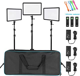 Godox LEDP260C CRI95+ TLCI94+ 30W Ultra-Thin Bi-Color Dimmable LED Video Light,Continuous Lighting Panel &Remote Controller,79inch Light Stand kit for YouTube Studio Photography Video Shooting-3 Packs