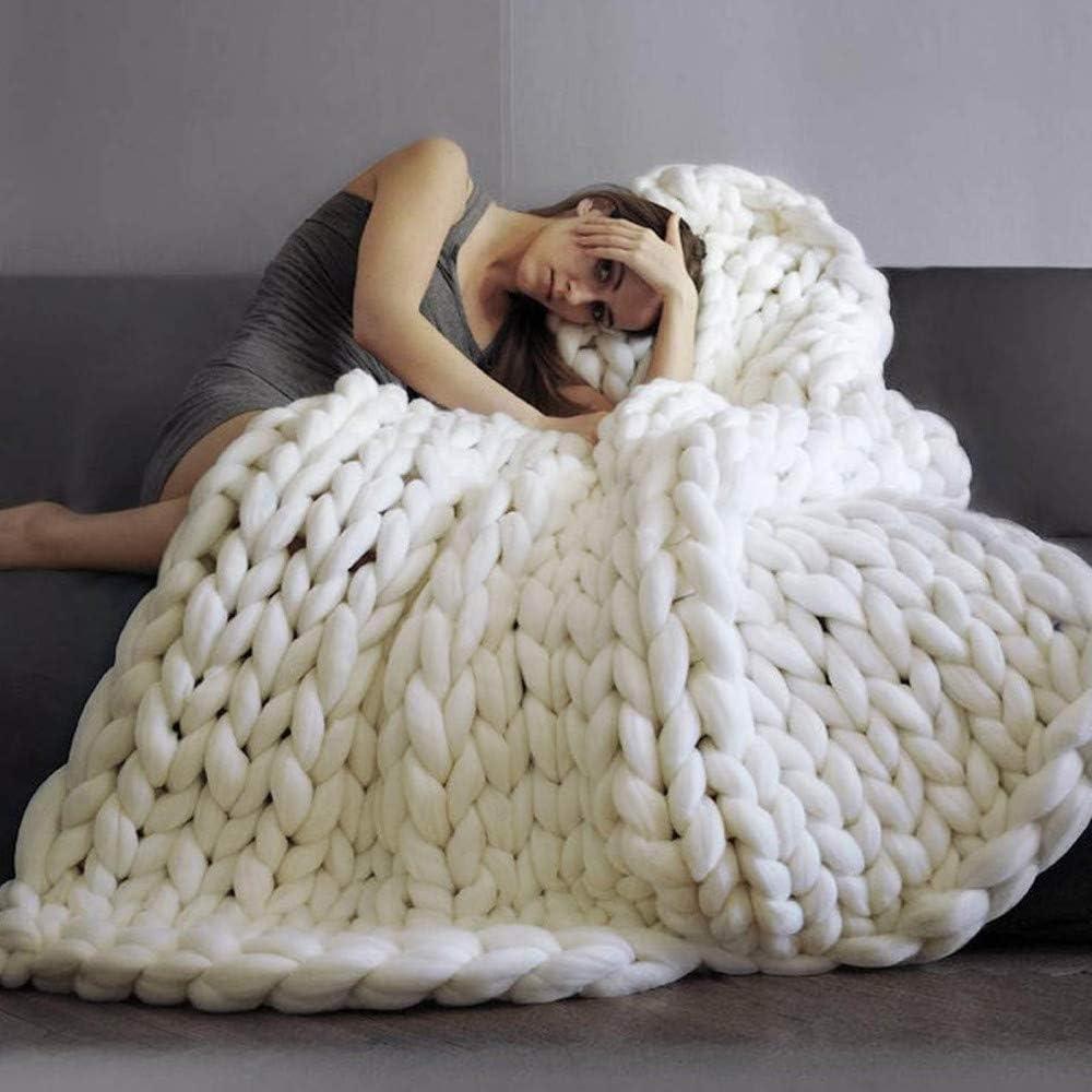TRGCJGH Couverture Laine Tricoter,Couverture Tricotée à La Main à La Mode en Laine épaisse Laine Mérinos Laine Volumineuse à Tricoter Couverture,White-100 * 200cm White-100*150cm