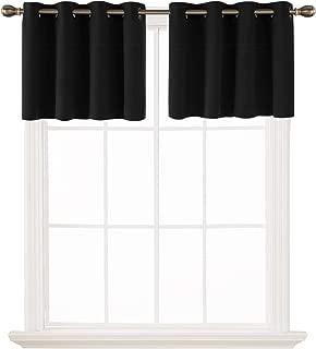 Deconovo Black Valances for Window Kitchen Short Blackout Curtains Grommet Tier Curtains for Living Room 52x18 Inch 2 Panels
