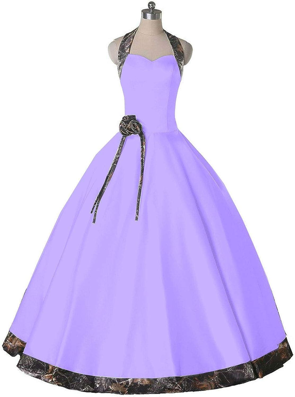 DINGZAN Halter Neck Ball Wedding Reception Party Dresses Camo Long