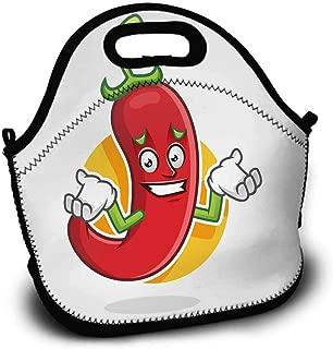HMdy88PT Feeling Sorry Chili Pepper Mascot Chili Pepper Character Chili Pepper Cartoon Lunch Bag W11xL11