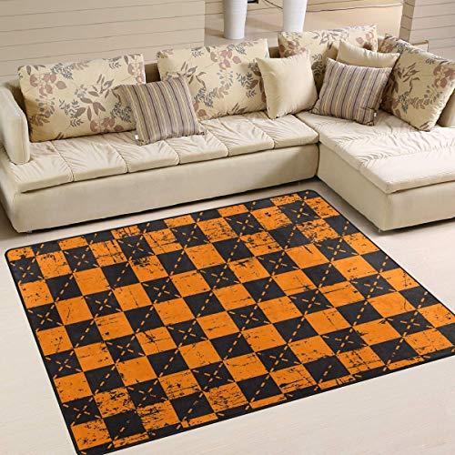 Trista Bauer Retro Grunge Halloween Plaid Pattern Bereich Teppich, rutschfeste Teppichboden Türmatte 36x24 in