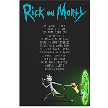 haohaizi Rick and Morty Quote Poster Decorative Painting Canvas Wall Art Living Room Posters Bedroom Painting 24x36inch(60x90cm)