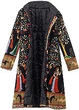 Rakkiss Womens Long Overcoat Vintage Print Winter Thicken Outwear Coat Casual Cotton Button Keep Warm Jacket