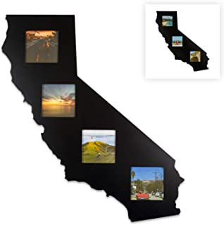 State Your Frame California Home Goods Gifts State Shaped Recycled Matte Black Wood Picture Collage Photo Frame - The Perfect Golden State Modern Wall Decor Gift for The Home - 4 Piece 4x4