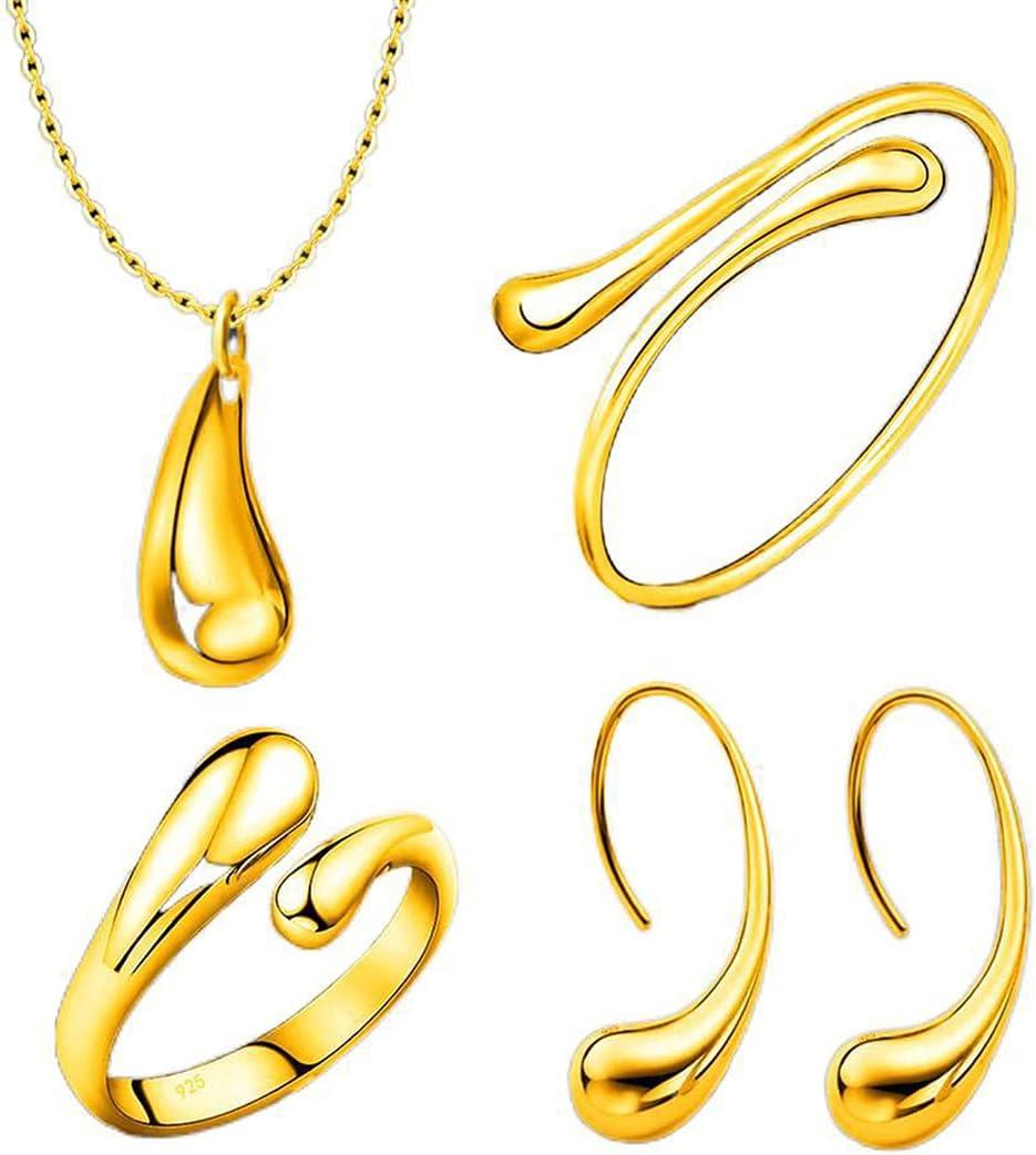 Outgeek Women Necklace Set Polished Elegant Open Ring Bride Jewelry Pendant Necklace Alloy Cuff Teardrop Dangling