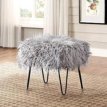 Home Soft Things Serenta Mongolian Faux Fur Ottoman Grey 19  x 13  x 17