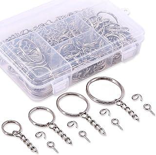 Swpeet 300Pcs Sliver Key Chain Rings Kit, 100Pcs Keychain Rings with Chain and 100Pcs Jump Ring with 100Pcs Screw Eye Pins...