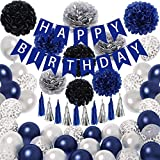Ouddy Blue Birthday Decorations for Men - Happy Birthday Banner Silver Blue Confetti Latex Balloons Paper Poms Tassels 18th 30th 40th 50th 60th Birthday Party Supplies for Him Women