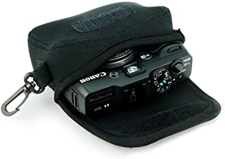 Black Flexible Neoprene Camera Protective Case Bag with Hook for Canon Powershot G10 G11 G12 G1X G15 G16 Sony DSC HX50
