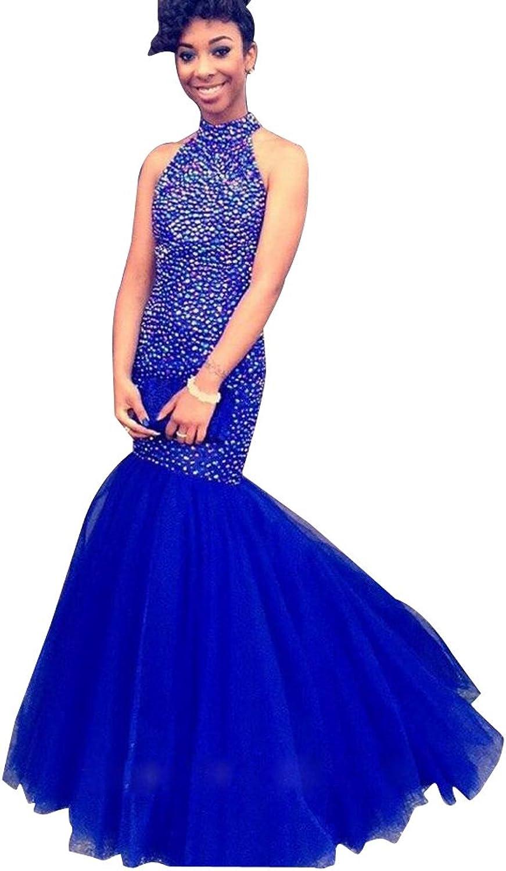 LISA.MOON Women's Halter Mermaid Sleeveless Zipper Tulle Back Hole Prom Dress