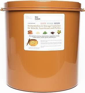 Premium Kimchi, Sauerkraut Fermentation and Storage Container with Inner Vacuum Lid - 5.8 Gallon (22L) Round Shape