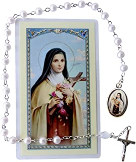 St Therese Liseaux Mauve Freshwater Pearl Beads Chaplet Free HC Blessed by Pope Francis